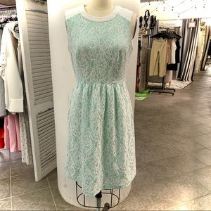 White and Mint Lace Detail Calvin Klein Dress